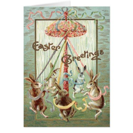 Easter Bunny Maypole Dance Ribbon Card - tap, personalize, buy right now!