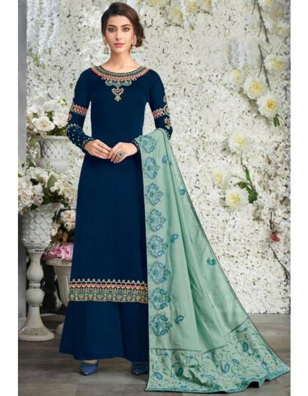Peacock Blue Palazzo Kameez with Kantha Embroidery Dupatta