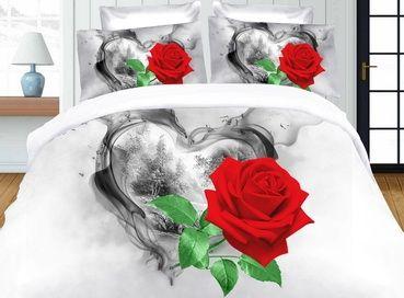 Červená ruža posteľné návliečky z mikrovlákna