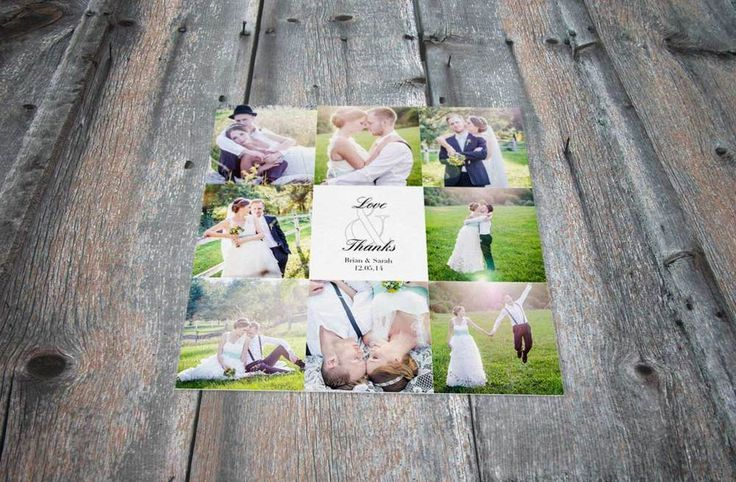 "#Wedding Photoshoot Thank You card - ""Love & Thanks""  You can choose up to 8 images for this card!  www.fortheloveofstationery.com #love #thankyou #weddingphotography"