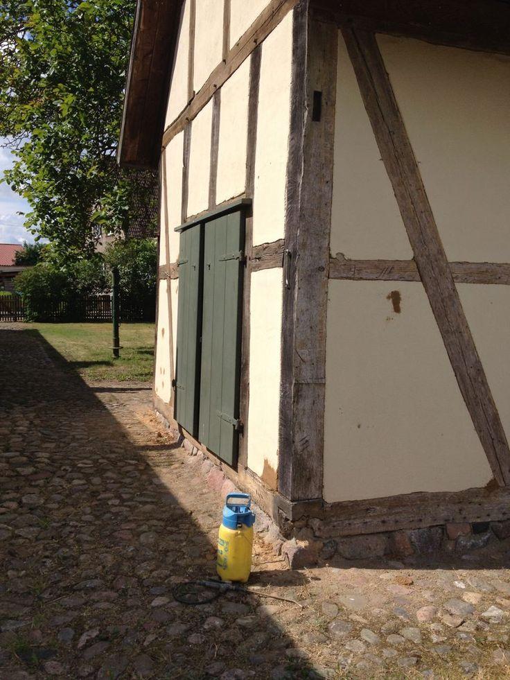 Fachwerkhaus-Sanierung: Lehmputz mit Leinölfirnis : Beseitigung von Schmierereien und Restaurierung einer historischen Lehmwand.
