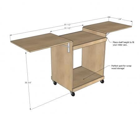 I want to make this!  DIY Furniture Plan from Ana-White.com  Make a miter saw cart from a single sheet of plywood! Has folding wings to stow away in tight spaces.
