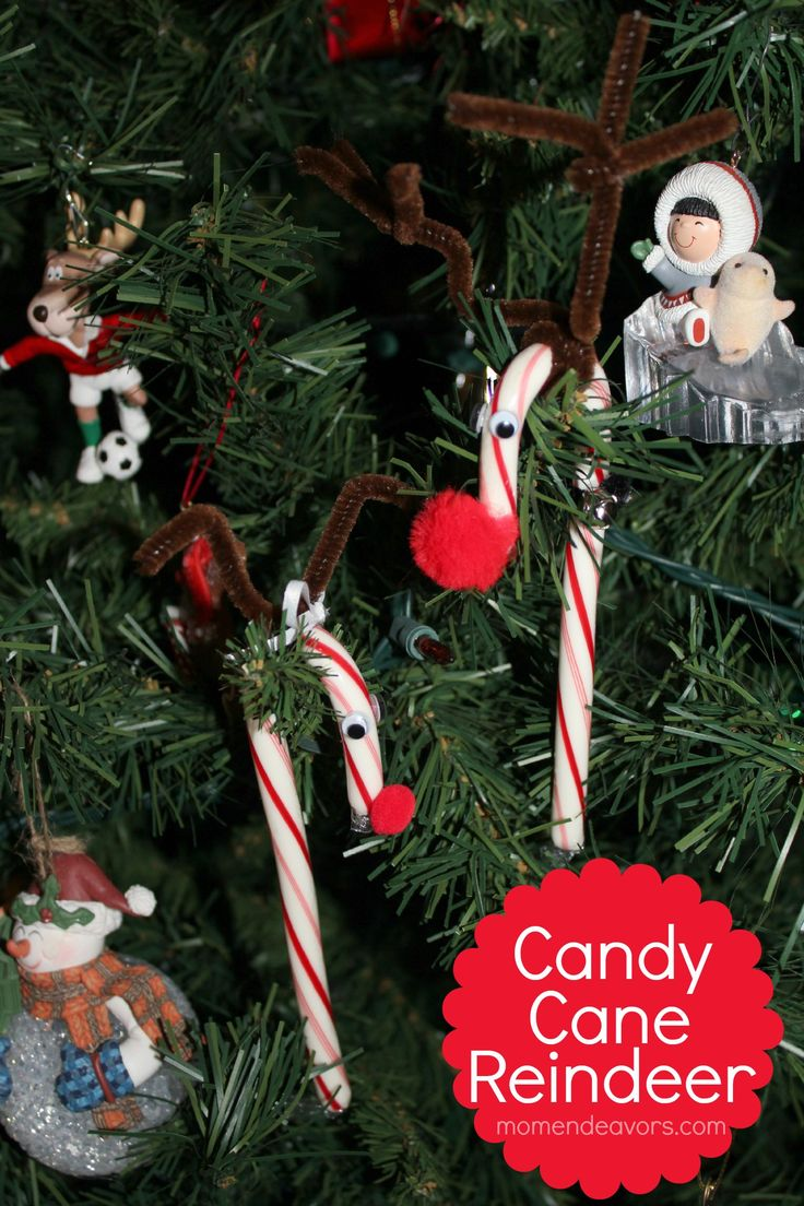 Large candy cane ornaments - Candy Cane Reindeer Great Christmas Ornament Craft To Make With The Kids