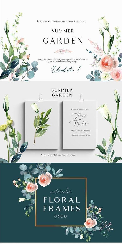 Summer Garden Floral Graphic Set Graphic Design Typography Poster Summer Garden Typography Poster Design