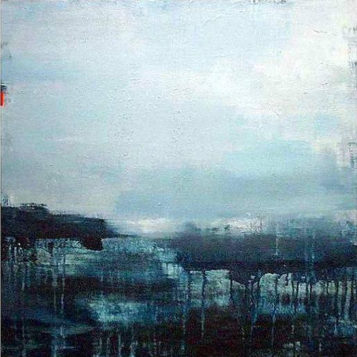 Abstract painting modern original landscape art blue for Minimal art landscape
