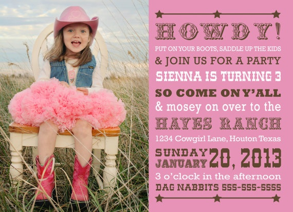 62 best cowgirl party images on pinterest | cowgirl birthday, Party invitations