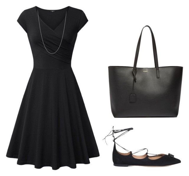clasico by luziagalvang on Polyvore featuring moda, Salvatore Ferragamo and Yves Saint Laurent