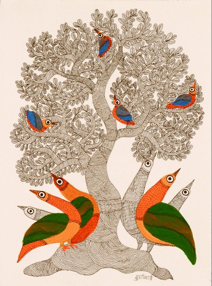 Peacocks & Tree by Durgabai Vyam: indigenous artist of Gond tribe in Central India expressing their closeness to Nature. Acrylic & ink on paper #art #natureart