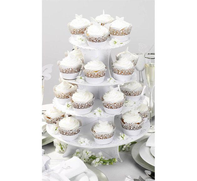 Küche & Kochen - Cupcake Ständer 4-stöckig weiss Schmetterling - ein Designerstück von Brautzilla-Shop bei DaWanda