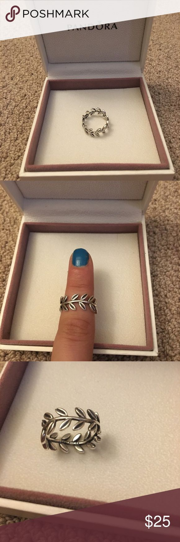 Pandora leaves and vine ring Silver pandora ring with leaves and vine in wavy detail. Verified 925 detailing is shown. Pandora sizing is in EU so fits a US size 7. Worn less than 10 times and in very good condition! Pandora Jewelry Rings
