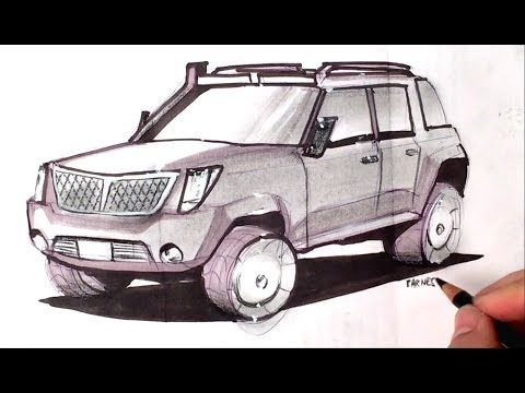 How to Draw an SUV Concept Quick Render / 30 Days of Show and Tell - YouTube