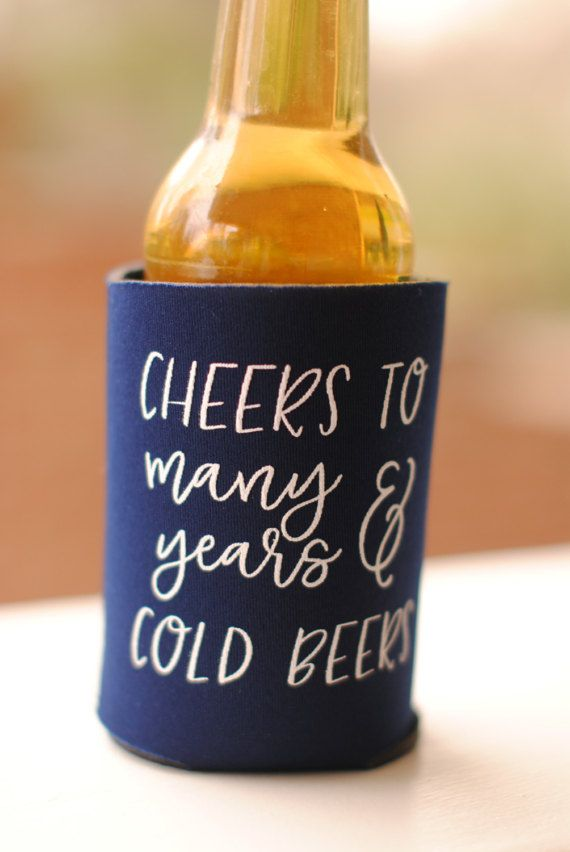 Wedding Favors, Wedding Koozies, wedding ideas Cheers to Many Years and Cold Beers by yourethatgirldesigns on Etsy