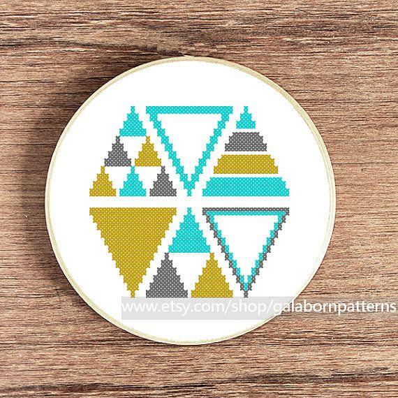 PDF Counted cross stitch pattern - Modern cross stitch - Geometric - Triangles