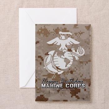 Happy Birthday Marine Corps Camo Marpat Greeting C > USMC Greeting Cards > Marine and Military Store