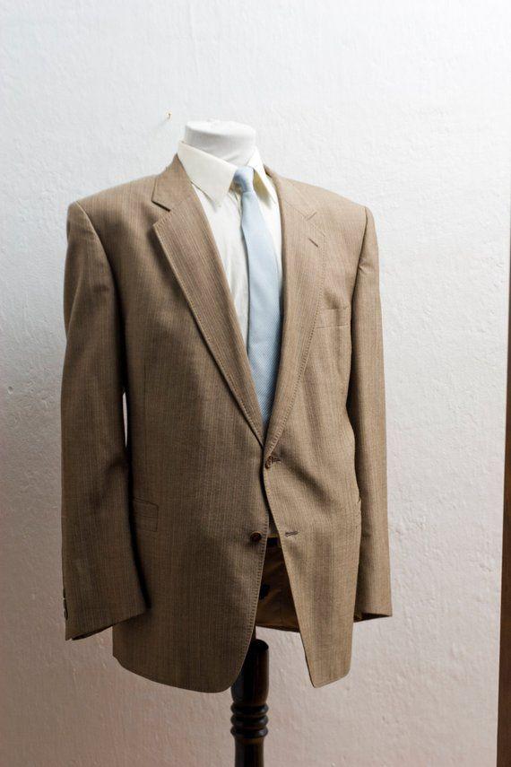 Men s Suit   XXL Vintage Pinstripe Blazer   Brown Jacket and Trousers  Size  50 9762b84ff