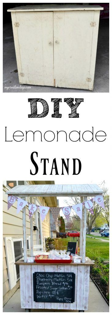 Looking for a lemonade stand for the kids this summer? This DIY Lemonade Stand repurposes an old cabinet into a fun stand for the kids to use for all their lemonade and bake sale stands.