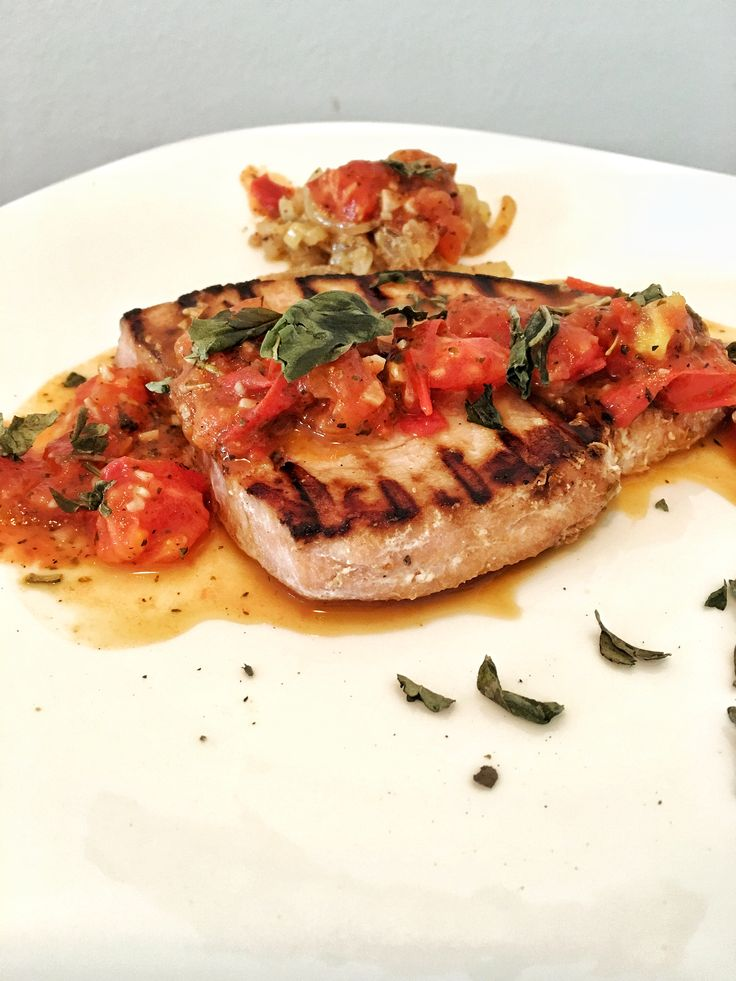 Grilled Spearfish with Tomato, Garlic and Wine Sauce
