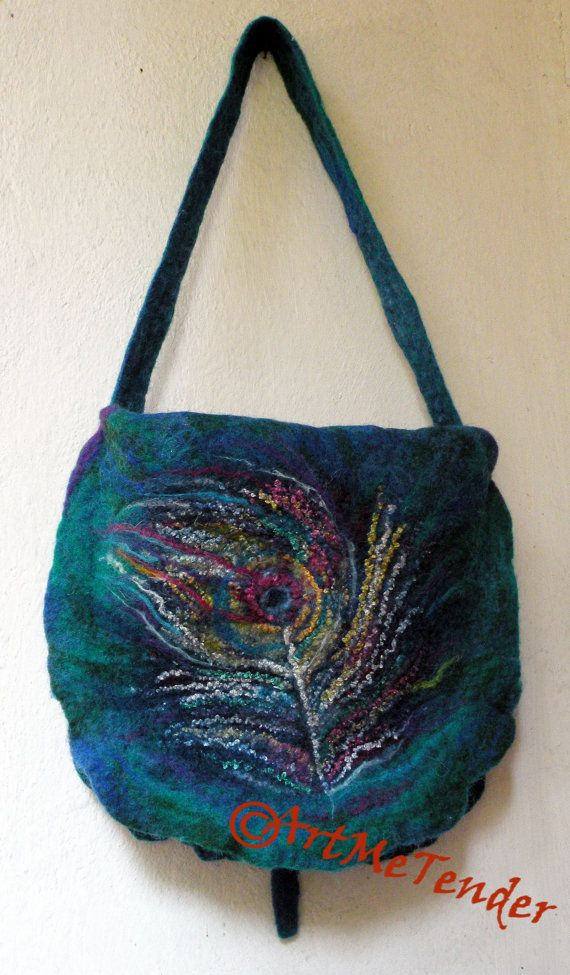 Felt peacock bag, wet felting Double-large bag made of my original design by me, unique, wool, merino, silk and viscose fibers