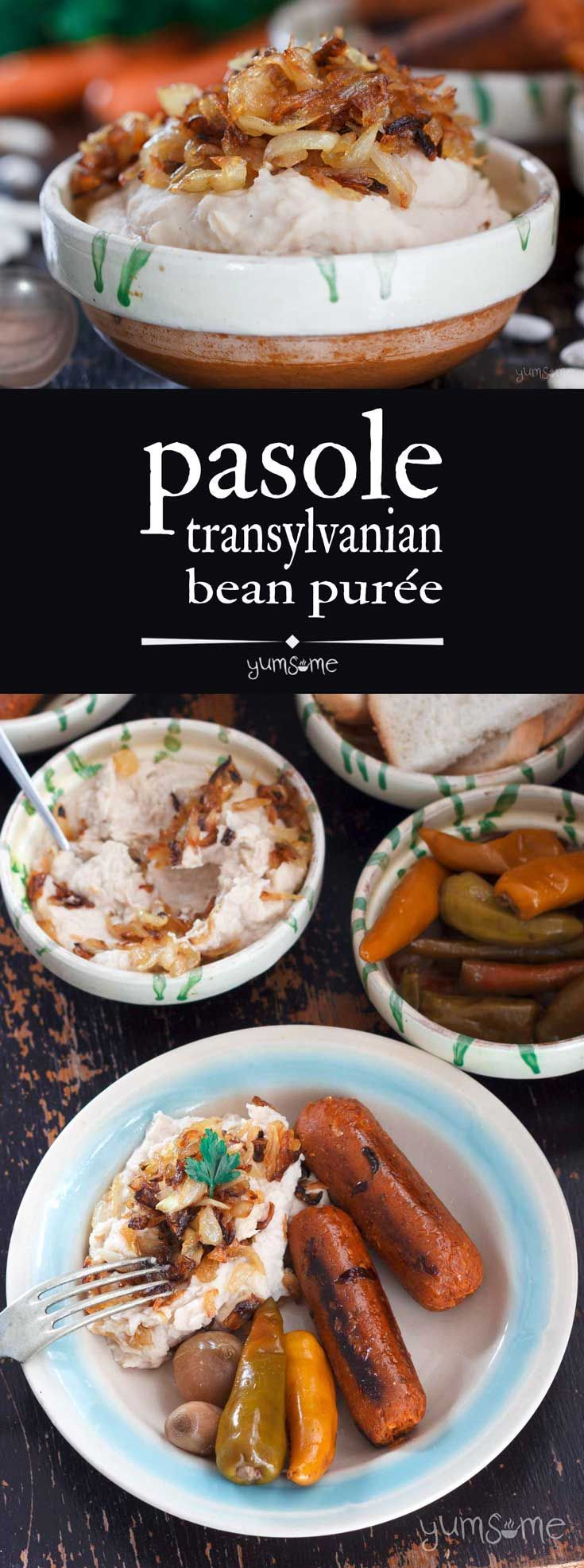 Creamy and delicately-flavoured, this pasole from Transylvania is perfect with vegan sausages and pickled vegetables, or even as a spread on bread or toast! | yumsome.com via @yums0me