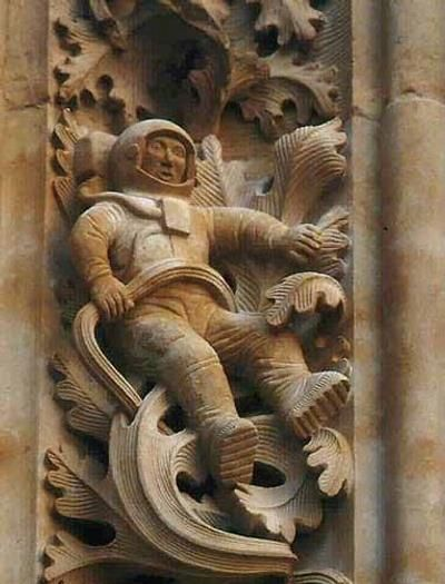 The cathedral in the Spanish city of Salamanca was constructed in 1102, and is therefore one of the oldest such constructions in the world. It features magnificent stone carvings on all its walls, but one of them is a bit more special than the others. It bears the depiction of what appears to be a fully dressed astronaut in a space suit, complete with details such as the sole of his shoes....see comment below.