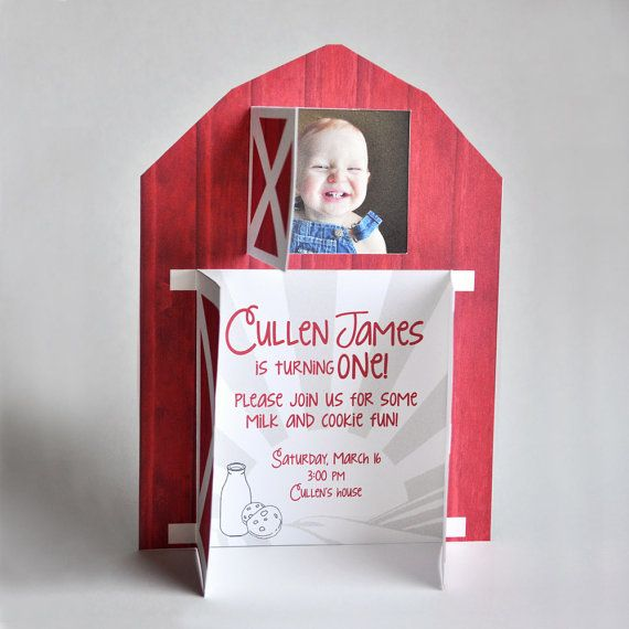 The cutest barn invitation for a farm birthday party!  Love the little doors!