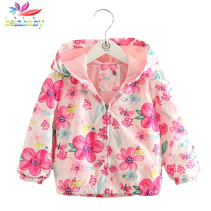 Belababy 2017 Autumn Summer Girls Jacket Floral Windbreaker Coat Kids Raincoat Trench Coat Children Outerwear Girls Clothing #Affiliate