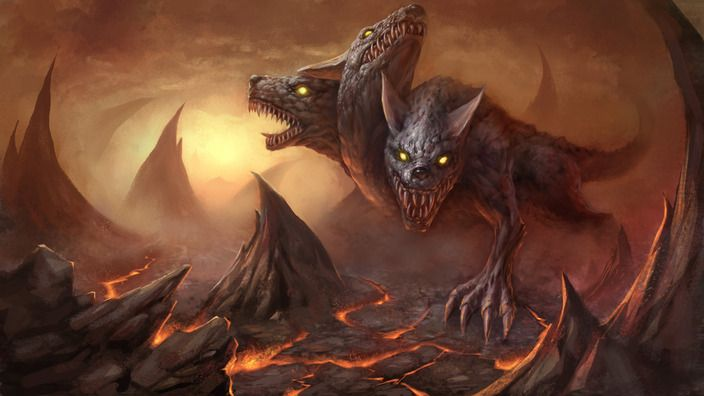 Cerberus (Literally meaning spotted or spot) is a giant hellhound with three heads (Variations have one to fifty heads, the claws of a lion, a mane of snakes, or a spiky serpent's tail) Cerberus is Hade's guard dog for the gates of the underworld.