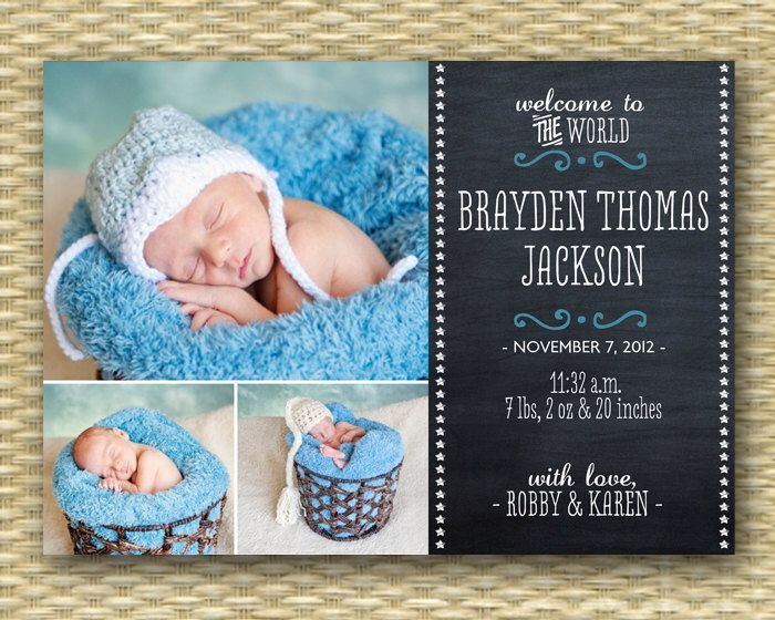 Chalkboard Birth Announcement Baby Announcement Baby Boy Birth Announcement Baby Girl Announcement 3 Photos Chalkboard Baby, Any Colors by SunshinePrintables on Etsy https://www.etsy.com/nz/listing/117522945/chalkboard-birth-announcement-baby