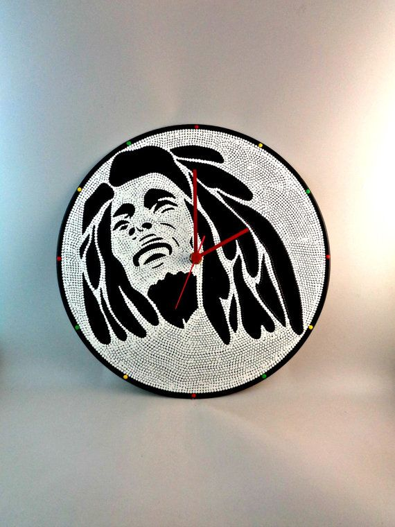 Bob Marley Vinyl Clock Hand Painted Black & White by InsaneDotting