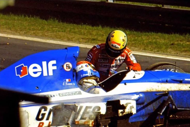 1992 Belgium Grand Prix, qualifying on Friday: French Ligier driver, Erik Comas, has a serious accident at the Blanchimont corner, with the body of the pilot critically injured in the cockpit. Just at the time of the accident McLarens Ayrton Senna, who, realizing the seriousness of the accident, shoots out of his car to stabilize the position of Comas prior to arrival of doctors. This heroic move saved the life of Erik Comas.