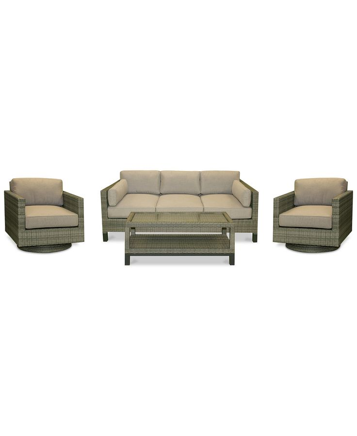 Northport Wicker Outdoor 4-Pc. Seating Set (1 Sofa, 2 Swivel Club Chairs & 1 Coffee Table) - Furniture - Macy's
