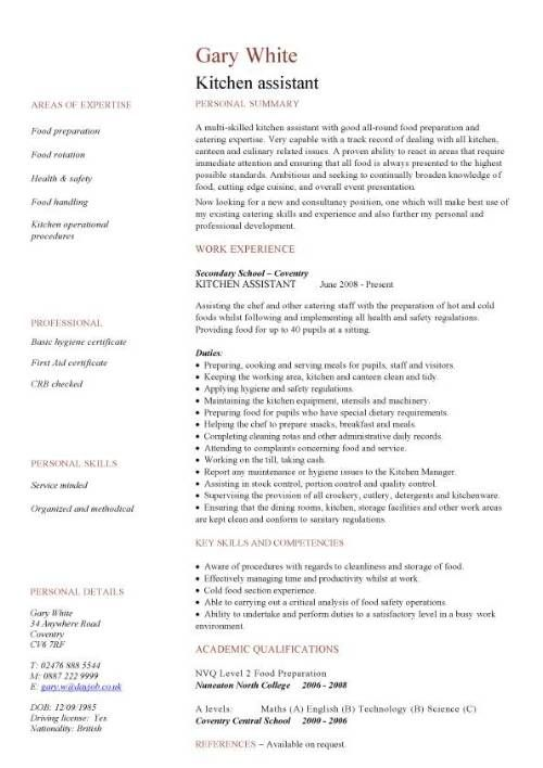 resume examples kitchen    examples  kitchen  resume