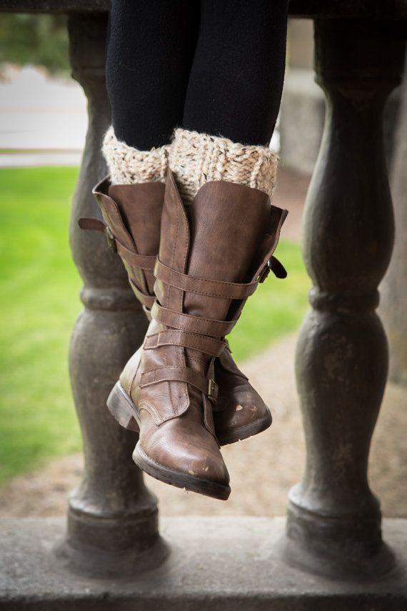 Poignets tricot Boot - gruau - Beige - tons - jambières - chaussette demi - femmes - filles de l'adolescence - personnaliser votre commande