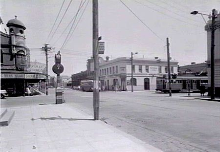 Intersection of Johnston and Brunswick Streets, Fitzroy, in 1949.