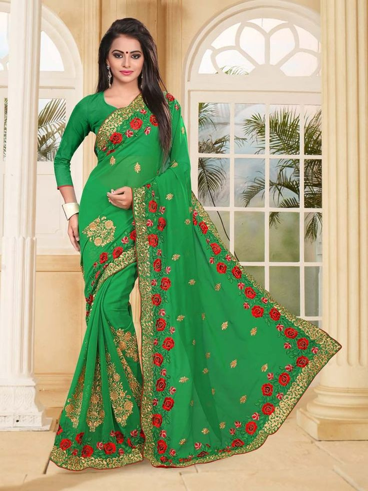 Buy Green Colored Georgette Designer Saree Online Shopping at Best Price on Variation. Huge range of Designer Sarees, Indian Wedding Saree, Party Wear Sarees and Latest Saree Designs.