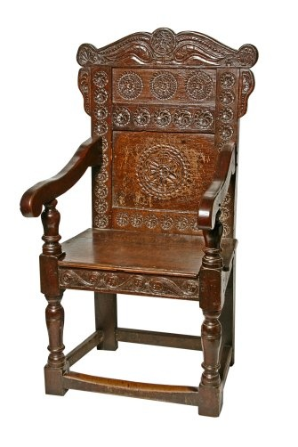 Sturdy Antique Oak Carved Arm Chair