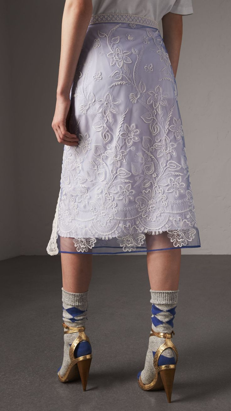 Floral-embroidered Tulle Skirt in Hydrangea Blue/white - Women | Burberry