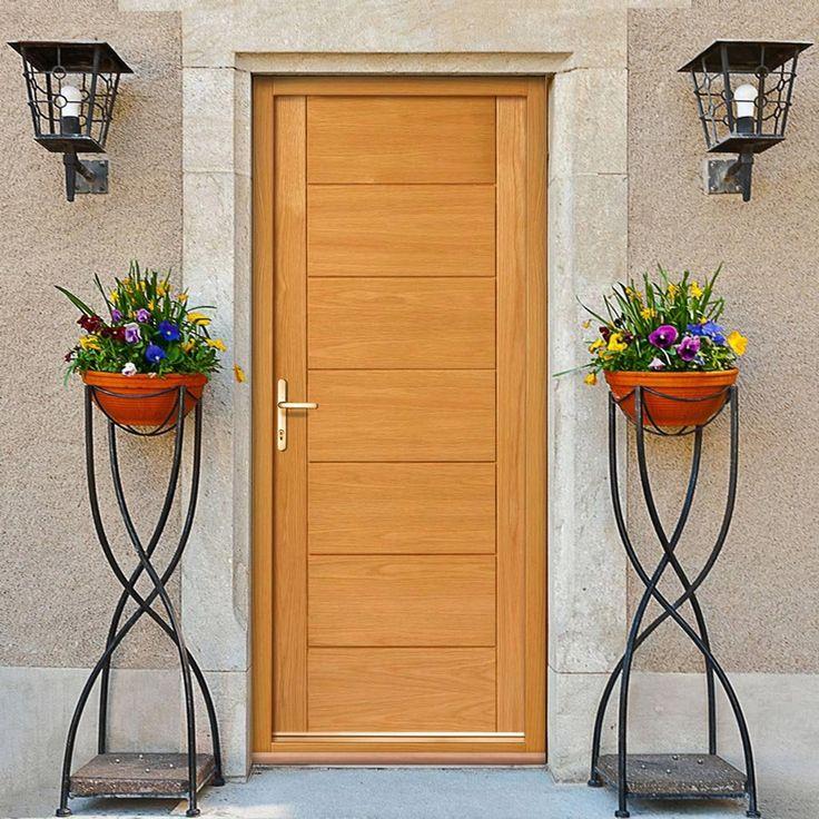 JBK Modern Exterior Cognac Oak Door, Therm-L Compliant. #oakdoor #externaloakdoor #externalflushdoor
