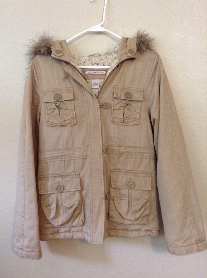 Abercrombie Women's Khaki Tan Beige Coat Fur Hood X Large Teen Winter Parka  | eBay
