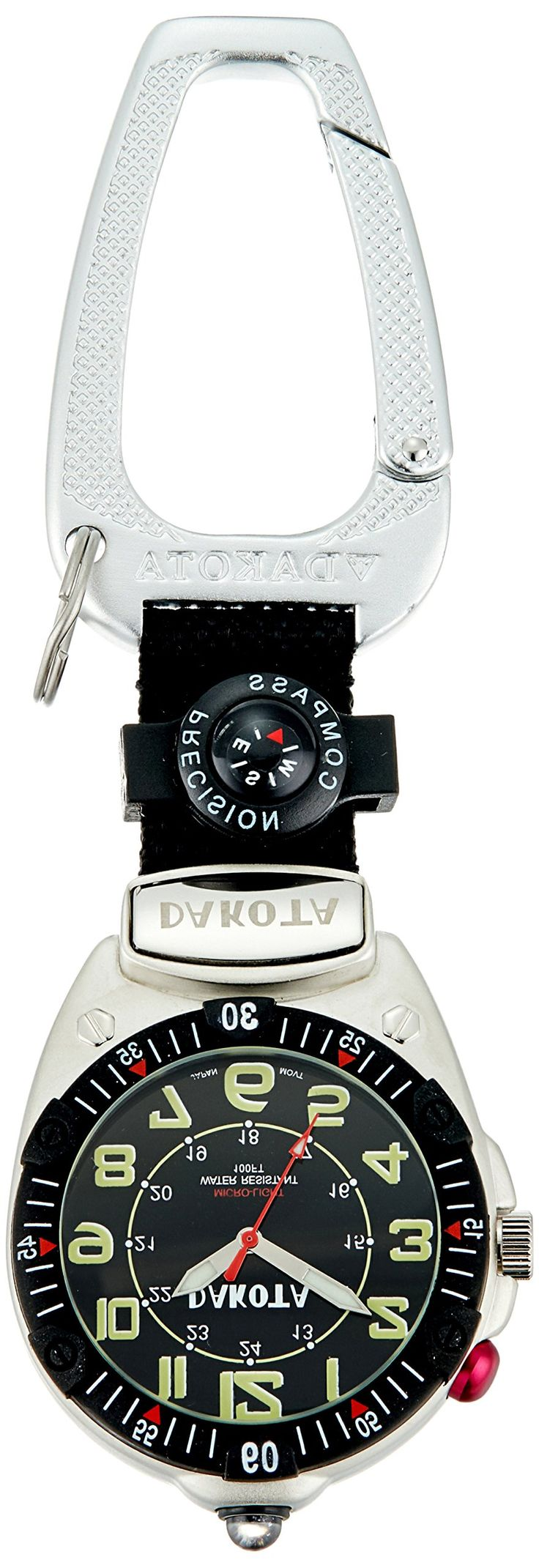 Dakota Watch Company Easy-To-Read Flashlight Clip Watch, Black. Black military dial with black fob with attached compass. 100 feet water resistant. Miyota movement. Luminescent hands. Ultra bright LED microlight.
