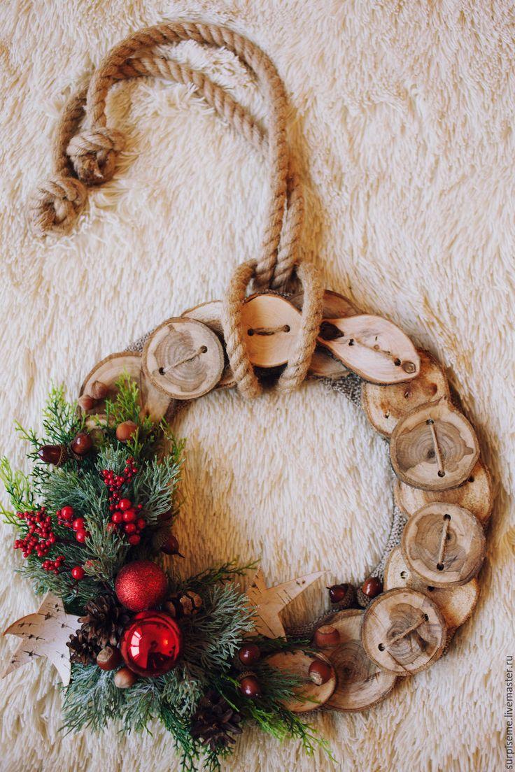 """Купить Новогодний венок """"Классическое торжество"""" - коричневый, венок на дверь, венок на стену, новогодний подарок"""