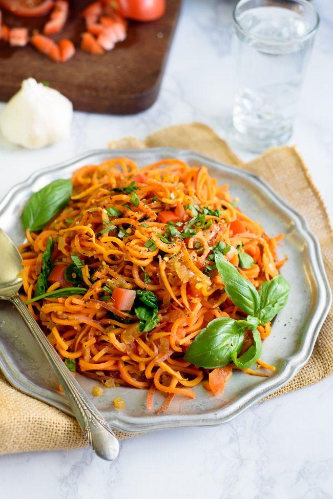 GarlicGarlic Tomato Basil Sweet Potato Noodles