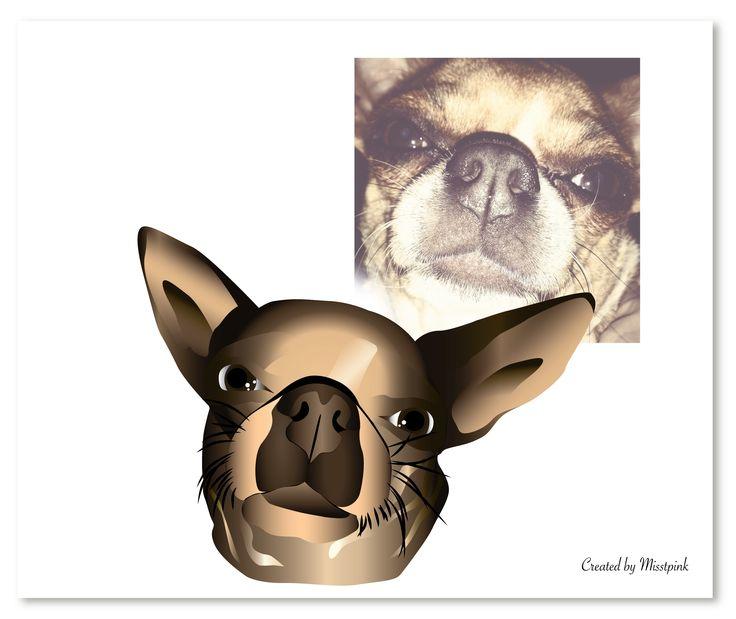 Comparison #chiwawa #chihuahua #miniature #dog #animal #illustration #vector #closeup #personalized #gift #boss