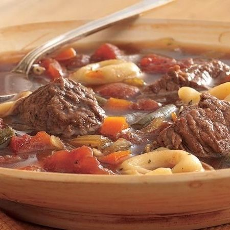 This is a hearty, comforting soup that's bound to become a family favorite. Stock up on beef stew meat and frozen tortellini when they're on sale, and you can make this tortellini soup for just a few dollars. Just add a salad and loaf of garlic bread to make it a meal!