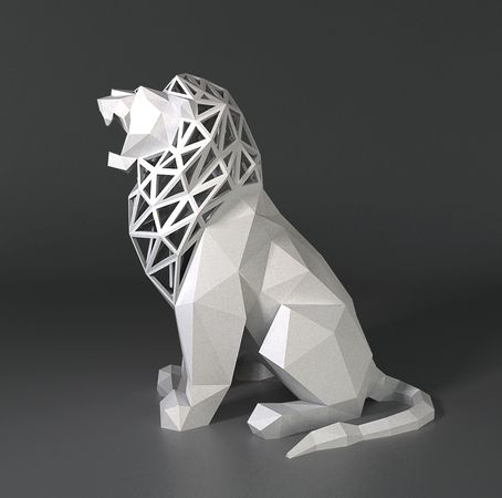#3DPrinted #LowPoly Roaring Lion