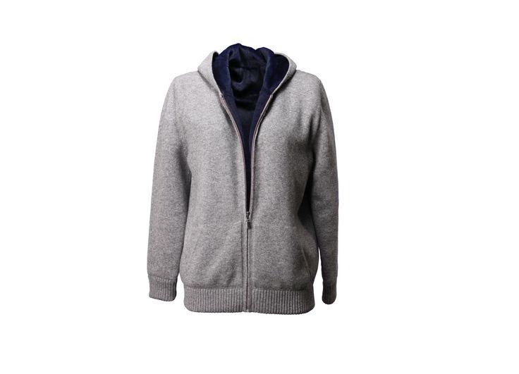 Felpa 100% cashmere color grigio  interno lapin blu  lunghezza cm 63
