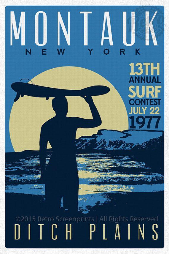 Montauk Ditch Plains Retro Vintage Surf Poster