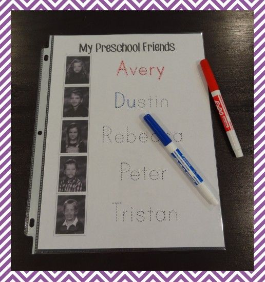 Mr. N--Name Tracing Practice Type students names, insert their pictures, print, and place in a clear sleeve. Put in a binder with dry erase markers and tissues for a fun way to practice writing names.