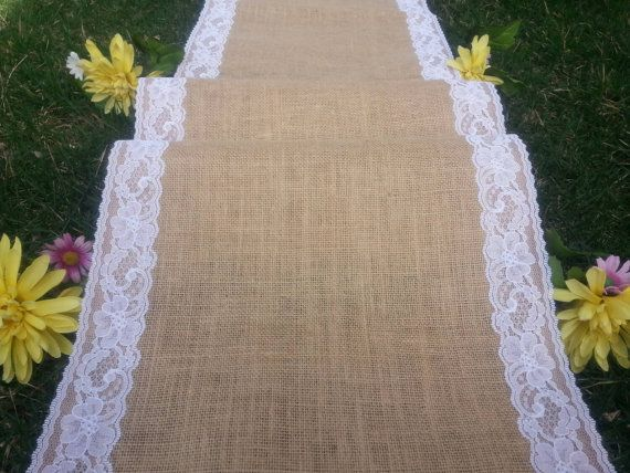 40wide burlap aisle runner with lace/wedding aisle by zahrazart