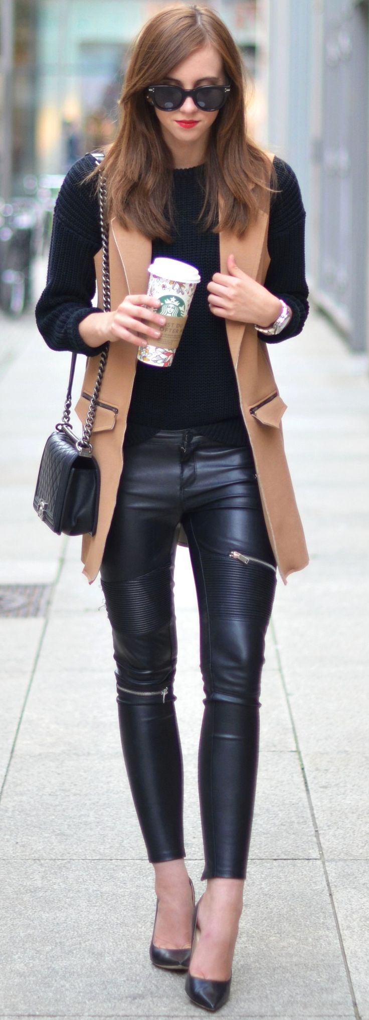 Camel On Total Black Back Moto Pants Fall Inspo by Vogue Haus